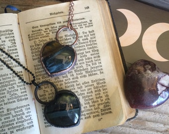 Blue Tigers Eye Necklace  Crystal Heart Necklace  Electroformed Jewelry  Healing Crystal Necklace  Hawks Eye  Large Crystal Necklace