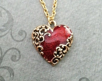 Red Heart Necklace Ornamental Heart Jewelry Girlfriend Valentine's Day Jewelry Anniversay Jewelry Heart Pendant Necklace Bridesmaid Jewelry