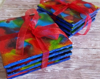 Set of 4 Coasters//Alcohol Ink Coasters//Gift//Colorful Coasters//Handpinted Coasters