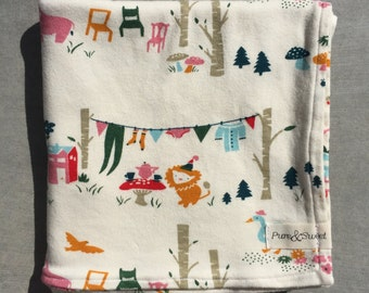 Organic Baby Blanket, Animal Picnic