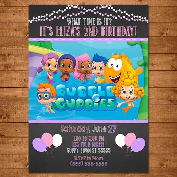 Bubble Guppies Invitation Chalkboard Theme -- Bubble Guppies Invite -- Bubble Guppies Birthday - Bubble Guppies Girl Birthday