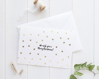 Gold & Black Foil 'We wish you a merry Christmas' Card