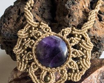 Macrame & Amethyst Necklace
