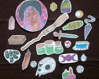 Witchy Stickers! -Runes -Magic -Skull -Divination -Art
