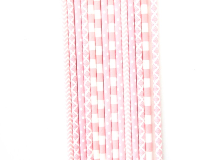 Blush Pink Straw, Decorative Straw, Baby Shower Decor, Pink Wedding, Pink Party Decor, Pink Gold Buffet, Pink and Gold Baby Graduation Decor