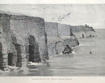 Cliffs of Moher, Ireland, victorian 1890 print - Wall decor, coastline, ocean - 126 years old French antique engraving illustration (B913)