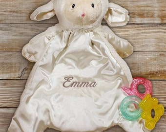 Cuddle Bud Little Lamb Blankie, Embroidered Gund Huggybuddy™, Embroidered Gund Lamb, Embroidered Lamb