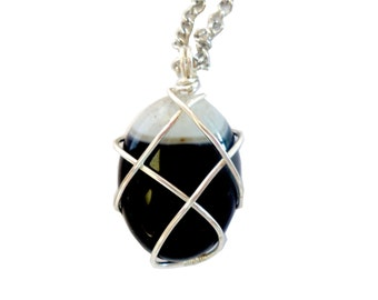 black agate necklace pendant wire wrapped,  gemstone pendant, Stone necklace, gift wrapped
