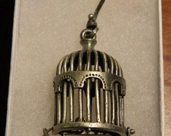 Silver Birdcage Pendant