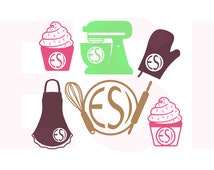 Baking Monogram Design Set, Kitchen svg Files, Bakery svg, SVG, DXF, EPS, for use with Silhouette Studio and Cricut Design Space.