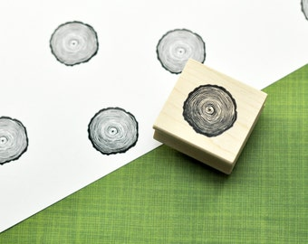 Tree Ring Art Stamp, Hand Carved Rubber Stamp