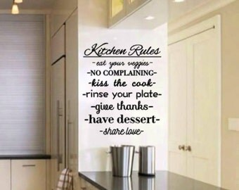 Kitchen Rules Vinyl Wall Decal - Wall Decor - Kitchen Wall Decal - Family Decal