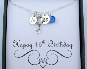 Personalized 16th Birthday Necklace With Message Card, 16th Birthday Gift, Sweet 16, Key Necklace, Sterling Silver, Initial And Birthstone