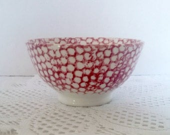Vintage Italian Spongeware Prep Bowl by La Primula SRL, Hand Painted, Red and White Small Bowl, Italian Pottery