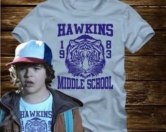 On Sale - HAWKINS MIDDLE SCHOOL Tigers 1983 T-Shirt Adult sizes S-3Xl in many colors - inspired by the Tv show Stranger Things