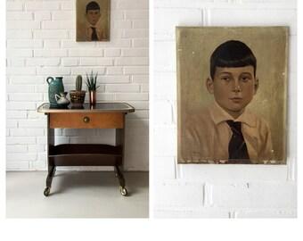 Vintage oil painting, old portrait, portrait boy, art, painting Art Deco, oil painting, art,.