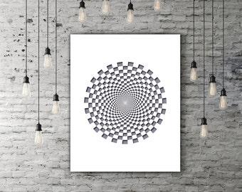 Optical Illusion Geometric Decor, Circle Print, Geometric Wall Art Modern Minimalist Poster, Geometric Printable Design, Round Art