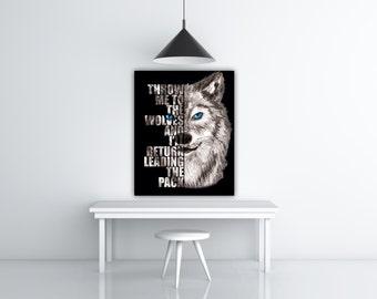 Wolf Print, Wild Animal Wall Art Blue Eyes Wolf Decor, Motivational Quote Poster, Black Wolf Art Print, Inspiring Art, Wolf Head Black Print
