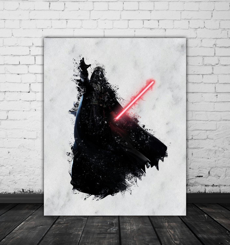 Darth Vader Print Star Wars Watercolor Splash Darth Vader