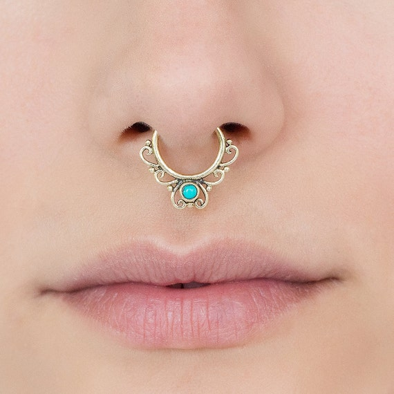 Brass Septum ring with Turquoise. Choose : Brass, Gold Plated or Sterling silver