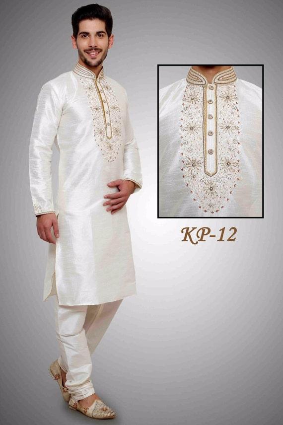 White Color Art Dupian Silk Fabric Kurta Payjama - Vardhita sarees ...