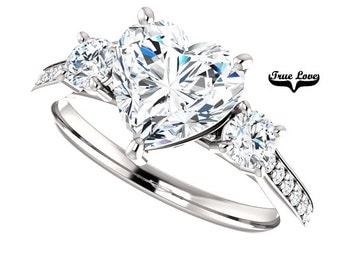 14 kt. White Gold Solitaire 1.50 Carat 7.5 mm Heart Shape forever Brilliant Cut Moissanite with Side Diamonds Engagement Ring #7802