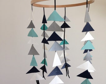 Baby Mobile // Leather Triangles // Nursery Decor // Baby Shower Gift