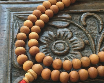 Sandalwood Beads 8mm Rondelle Wood Prayer Mala 108 Beads