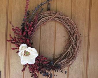 Grapevine Magnolia Wreath, Magnolia Wreath, Front Door Wreath, Rustic Wreath, Year Round Wreath