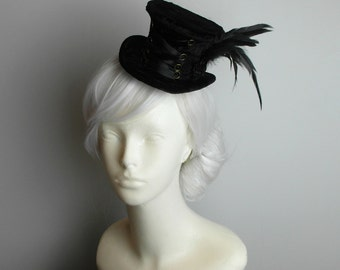 Black Victorian Corset - Mini Top Hat