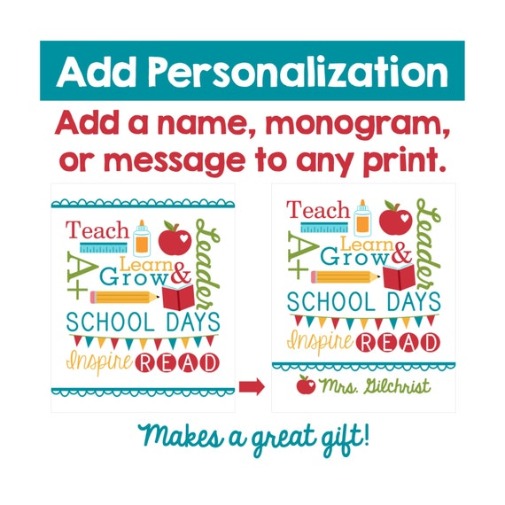 Add Personalization To Any Print - Add a name, monogram, or message - Makes a GREAT Gift!