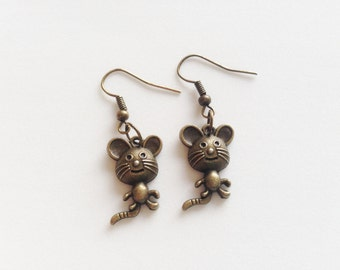 MOUSE Earrings Mouse Jewelry Mouse Gift Animal Lovers Gift Mickey Mouse Earrings Mickey Mouse Jewelry Animal Jewelry Animal Earrings Gift
