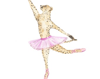 Woodland Nursery Print Cheetah, Cheetah Woodland Animals Print, Ballet  Dancing Wall Art Print,