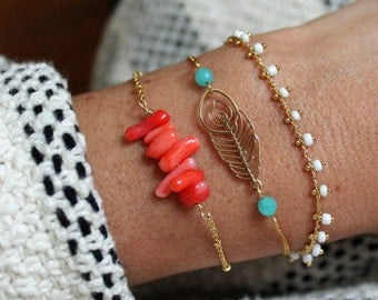"""Bracelet Pemberley in coral and gold-plated """"Coral"""" - Gold plated gemstone bracelet - jewel bracelet - coral"""
