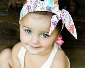 BOHO BABE Gorgeous Wrap- headwrap; fabric head wrap; feather head wrap; boho; newborn headband; baby headband; toddler headband