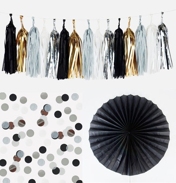 Black Kit decoration : tassel garland, confettis, rosette - BLACK wedding, black party , New Year's Eve