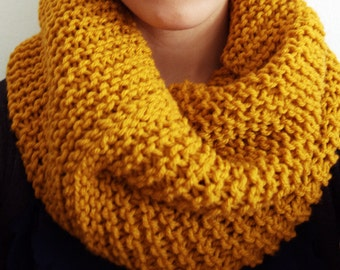Mustard Yellow Cowl, Cowl Scarf, Infinity Scarf, Knit Scarf, Circle Scarf, Yellow Scarf, Mustard Infinity Scarf, Knitted Scarf