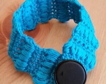 Vibrant Blue Crochet Bracelet