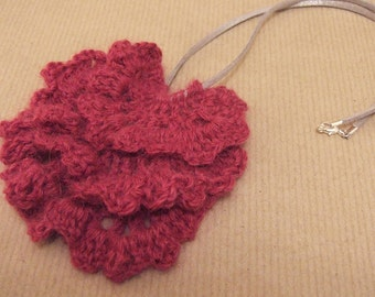 Pink Ruffle Crochet Necklace