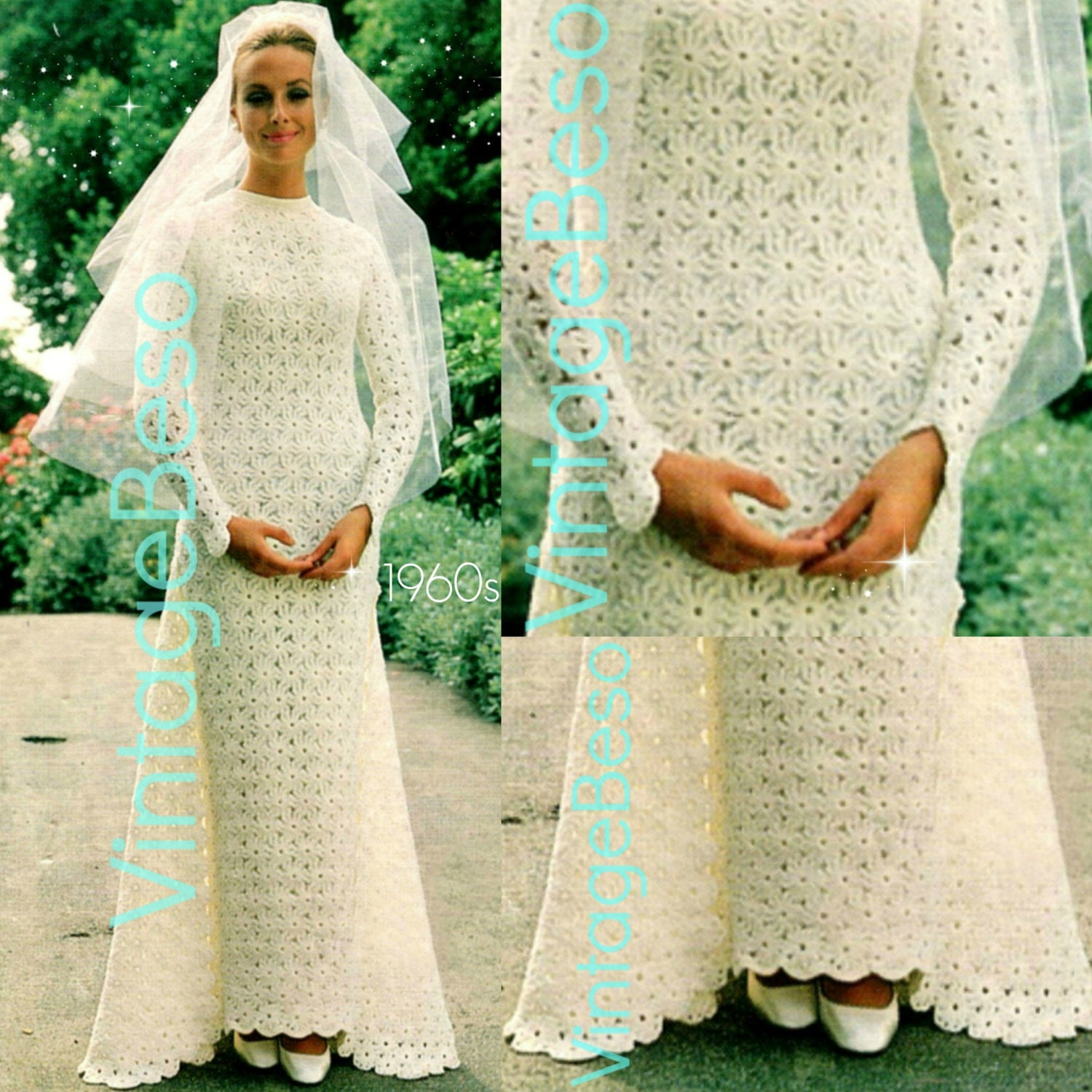 Wedding dress crochet pattern vintage 1960s by vintagebeso for Crochet wedding dress patterns