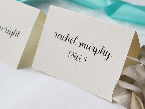 Custom calligraphy for place cards or escort wedding