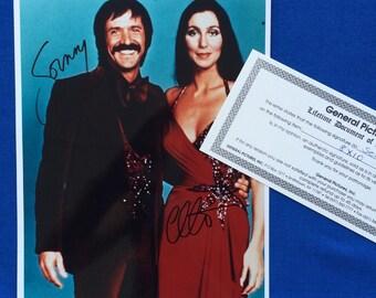 Vintage Sonny & Cher Autographed Signed 8x10 Color Photo 70's TV Show Fashions with Authentication