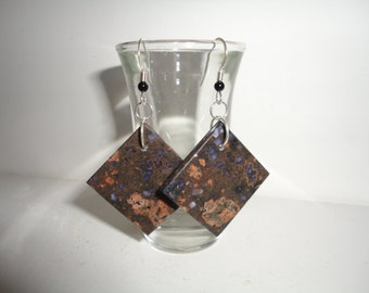 Llanite, Sterling Silver Dangle Wire Earrings
