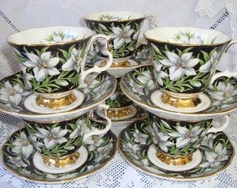 Royal Albert PROVINCIAL FLOWERS MADONNA Lily Tea Cup & Saucer Set 2 pieces