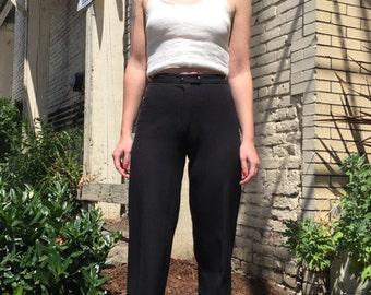 70's High Waist Black Trouser Pants  Sleek- Small XS