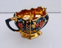 Vintage Porcelain Black and Gold Creamer, Gold Lusterware Creamer, Black and Red Floral Pattern, Hand Painted Porcelain Creamer, Unique gift