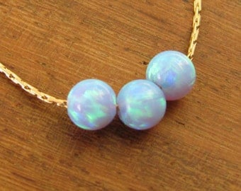 Opal necklace, Blue Opal Necklace, 14k gold filled, Blue Opal Necklace, Dainty Necklace, Blue jewelry, bead Necklace.