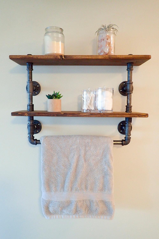 Bathroom Towel Bar: Industrial Pipe Bathroom Shelf / Towel Rack