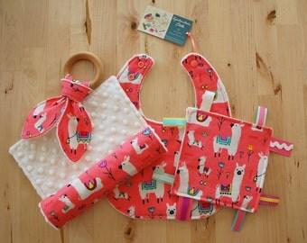 ALMOST GONE Baby Girl Gift Set - Llamas / Alpacas - Bib, Burp Cloth, Crinkle Teether w/ Maple Teething Ring, & Crinkle Toy w/ Ribbons