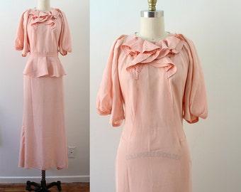 1930s Pink Gown / Fresh Hydrangea Gown / Vintage 30s Taffeta Dress / XS S